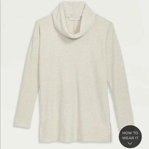 Shimmer Waffle Cowl Neck Tunic Top